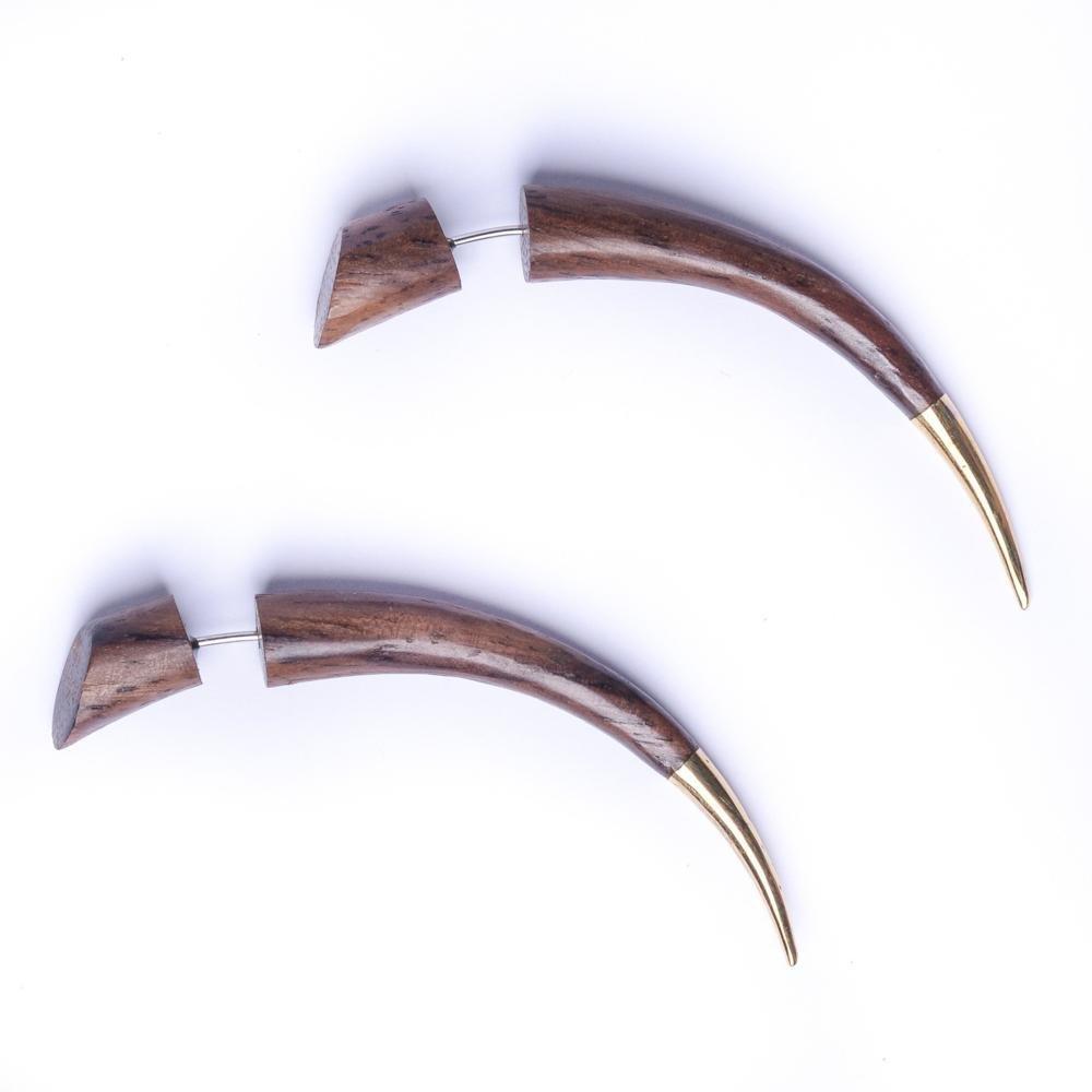 81stgeneration Women's Men's Wood Brown Brass Gold Tone Long Spike Fake Stretcher Tribal Earrings 16asTEW064