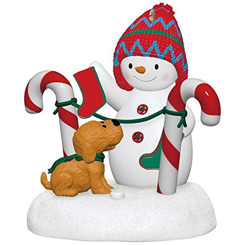 Stockings Hung With Care Snowman and Puppy Plush Music Ornament Snowmen