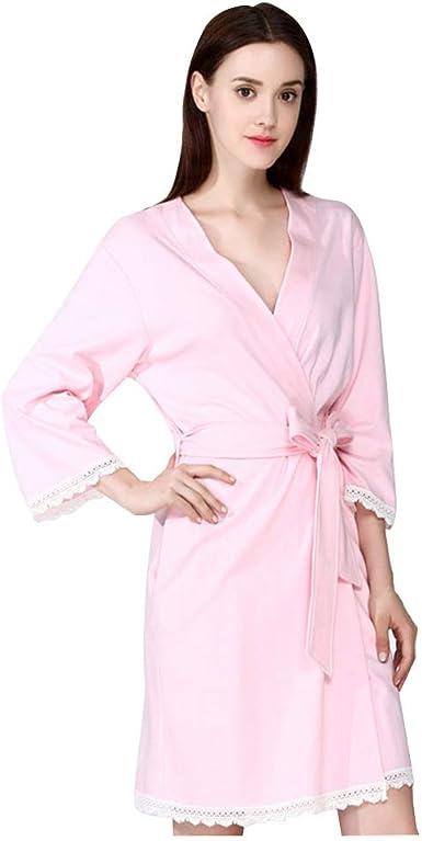 para Mujer Kimono Algodón Albornoz Corto con Cuello en V Recorte de Encaje Sexy Robe Estilo Europeo Ropa de Dormir Sección Fina Camisones, Pink_XL: Amazon.es: Ropa y accesorios