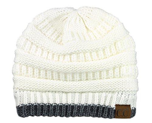 - C.C Trendy Warm Chunky Soft Stretch Cable Knit Beanie Skully, Ivory/Dk Mel Gray