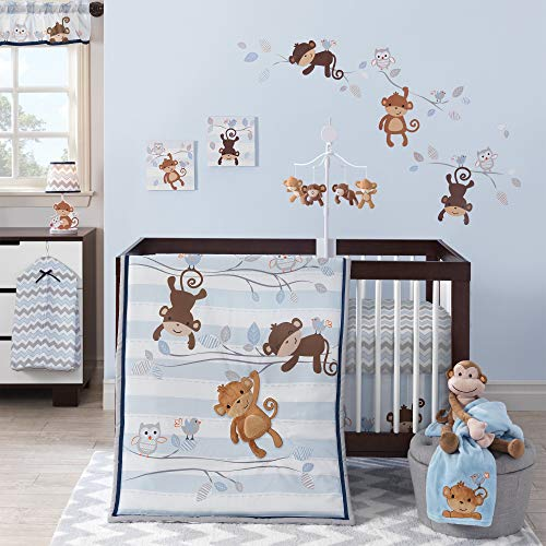 Bedtime Originals Mod Monkey 3-Piece Bedding Set - Blue, Gray, White, Animals