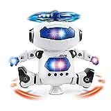 Electronic Walking Dancing Robot Toy for Kids, Flashing Lights, 360° Body Spinning, Toddlers Bosys Girls Fun Toy Figure