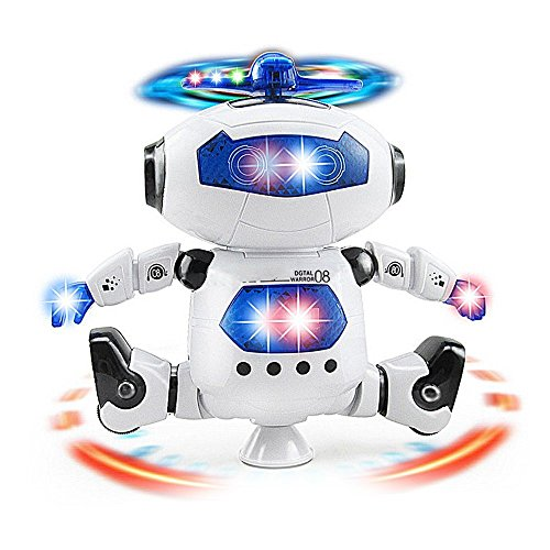 Electronic Walking Dancing Robot Toy for Kids, Flashing Lights, 360° Body Spinning, Toddlers Bosys Girls Fun Toy Figure by WenToyce