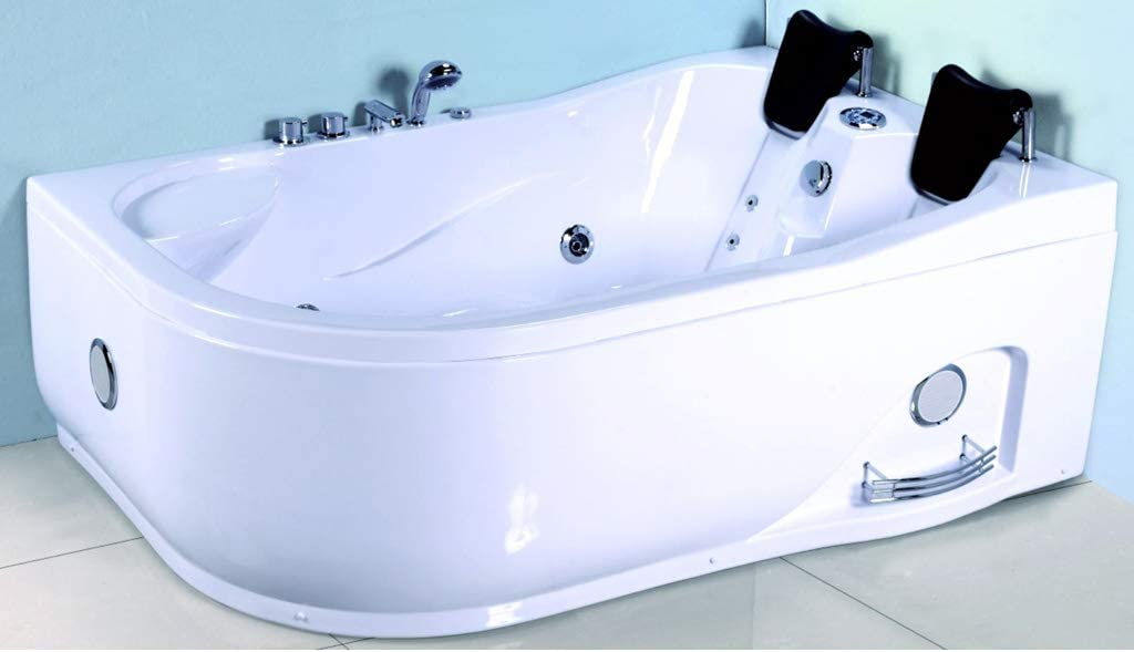 2 Person Computerized Massage Hydrotherapy Right Corner White Bathtub Tub Whirlpool with Bluetooth, Remote Control, Inline Water Heater, and 22 Total Jets
