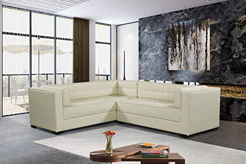 Iconic Home Whistler Left Facing Sectional Sofa L Shape PU Leather Upholstered Tufted Shelter Arm Design Espresso Finished Wood Legs, Modern Transitional, Cream