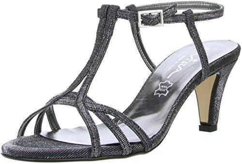 Vista Damen Glitzer Sandaletten schwarz/silber Schwarz