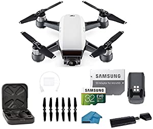 DJI Spark Intelligent Portable Mini Drone Quadcopter, with MUST HAVE BUNDLE, 32 GB SD Card, Reader and Koozam Cleaning Cloth (Alpine White) …