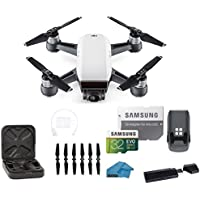 DJI Spark Intelligent Portable Mini Drone Quadcopter, with MUST HAVE BUNDLE, 32 GB SD Card, Reader and Koozam Cleaning Cloth (Alpine White)