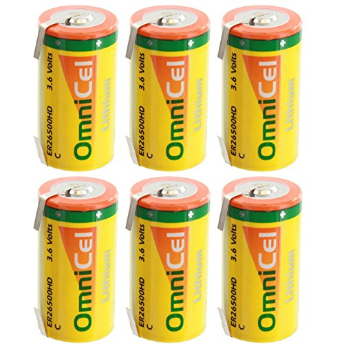 6x OmniCel ER26500HD 3.6V 6.5Ah Sz C Lithium Battery Tabs Sensors Detectors by Exell Battery