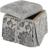 Jennifer Taylor Home Stacy Collection Modern Upholstered Nail Trim Hand Tufted Square Storage Vanity Footstool Bench, Gray