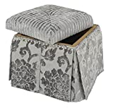 Jennifer Taylor Home, Storage Vanity Stool, Grey,  Hand Tufted, Hand-Applied Nailheads, & Skirt