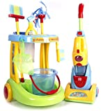 """CP Toys Kid-sized """"Little Helper"""" Cleaning Trolley / 12 Piece Set for Pretend Play"""
