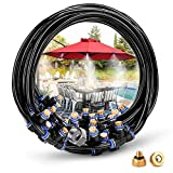 HOMENOTE Misting Cooling System 75.46FT (23M) Misting Line + 34 Brass Mist Nozzles + a Brass Adapter(3/4) Outdoor Mister for Patio Garden Greenhouse Trampoline for waterpark
