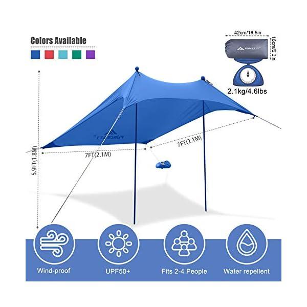 51zUjlJptuL Forceatt Strandzelt Sonnenschutz, Pop-up Strandzelt mit UPF50+ UV-Schutz und 2 Stücke Aluminiumstangen, Außenschutz für…