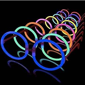 La Vida en Led 50 Gafas Luminosas Glow Hippie Redondas: Amazon.es: Juguetes y juegos