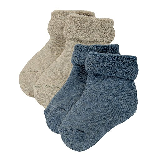 Baby Merino Wool (Janus Merino Wool Baby Toddler 2-Pack Terry Socks. Made in Norway. (Blue, EU 16-17 (6-12 Months)))