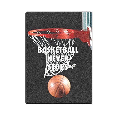 Unique Debora Custom Blanket Throw Super Soft Warm Fuzzy Lightweight Bed or Couch Blanket with Basketball Never Stops