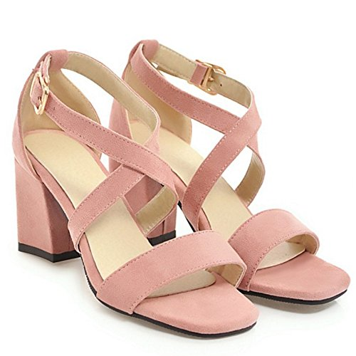 AicciAizzi Femmes Daim en Pink Mode Sandales Bloc rrqwXa1d