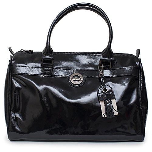 Black Patent Leather Duffle Bag - 7