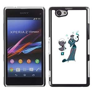 Cubierta protectora del caso de Shell Plástico || Sony Xperia Z1 Compact D5503 || Kashmir Teal Fashion White @XPTECH