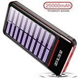 Solar Charger Power Bank 25000mAh Portable Charger Battery Pack with 3 Outputs & 2 Inputs Huge Capacity Backup Battery Compatible Smartphone,Tablet and More