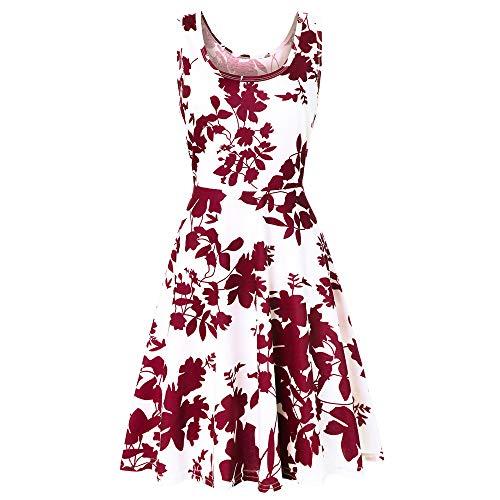 Summer Beach Dresses for Women Tshirt Sundresses Boho Casual Sleeveless Floral Shift Pockets Swing Loose Damask ()