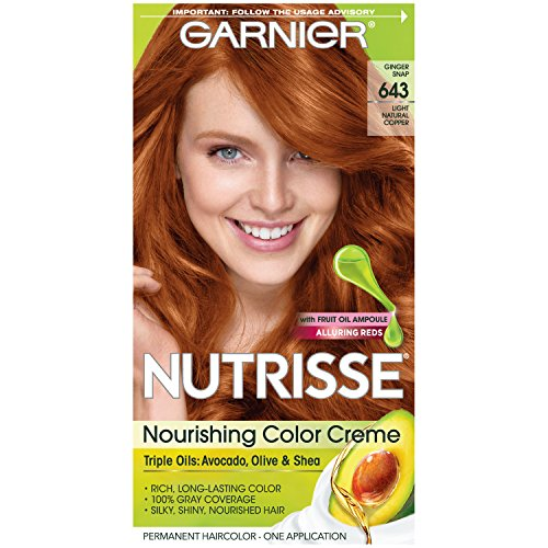 Garnier Nutrisse Nourishing Color Creme [643] Light Natural Copper 1 ea (Best Dark Auburn Hair Color)