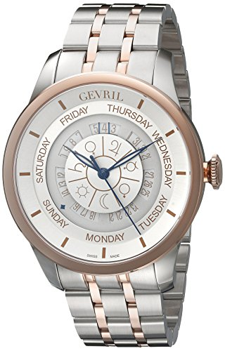 Gevril Columbus Circle Mens Swiss Automatic Two Tone Stainless Steel Bracelet Watch, (Model: 2003B)