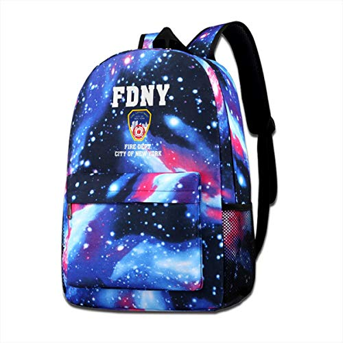 Galaxy Printed Shoulders Bag Fire Department City Of New York Fashion Casual Star Sky Backpack For Boys&girls (New York Department Of Design And Construction)