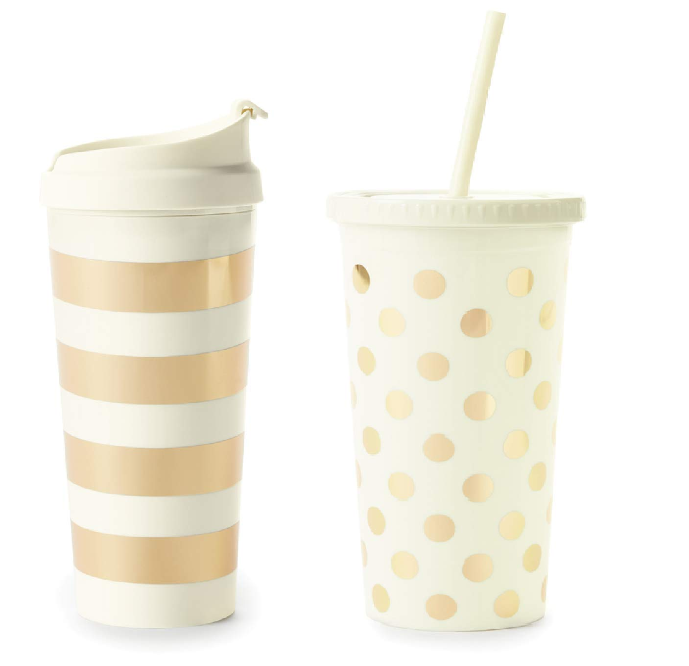 271e3c9f2dc Amazon.com: Kate Spade New York Set of 2 Gold Stripe 16oz Thermal Mug and Gold  Dot Acrylic 20oz Tumbler with Reusable Straw: Kitchen & Dining