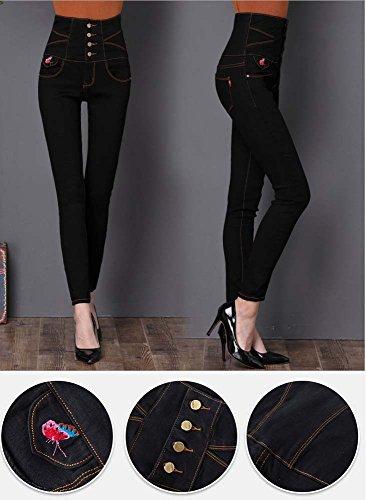 mezclilla Jeggings para delgados Estiramiento cintura alta mujer para 4 flacas Keephen de Negro mujer Polainas UqPx1w1E