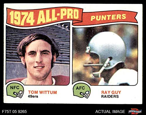 1975 Topps # 224 All-Pro Punters Tom Wittum/Ray Guy Oakland 49ers / Raiders (Football Card) Dean's Cards 3 - VG 49ers / Raiders