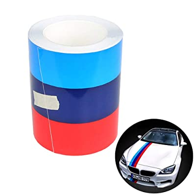 """110"""" x 5.9"""", 39"""" x 2.75"""" M-Colored Stripe Car Sticker for CAR Exterior Cosmetic, Hood, Roof, Bumpers (M-Colored Stripe): Kitchen & Dining"""