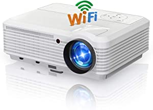 Smart Wifi Projectors with Bluetooth 4800 Lumens Home Theater Outdoor Movie Wireless Projector HDMI USB with Speakers Support 1080P Digital Zoom Keystone for Phone Laptop DVD Roku TV Fire Stick Games