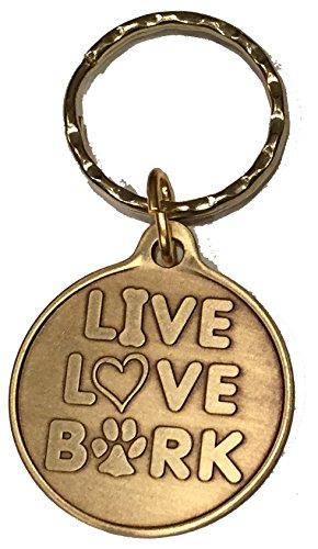 Live Love Bark Dog Bone Pet Heart Bronze Keychain Paw Print Design