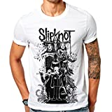 Mazumi8 Slipknot Cartoon Devil Metal T-Shirt Size L White