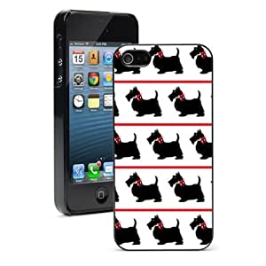 For iPhone 4 4S Hard Case Cover black scottie dogs red bows -01