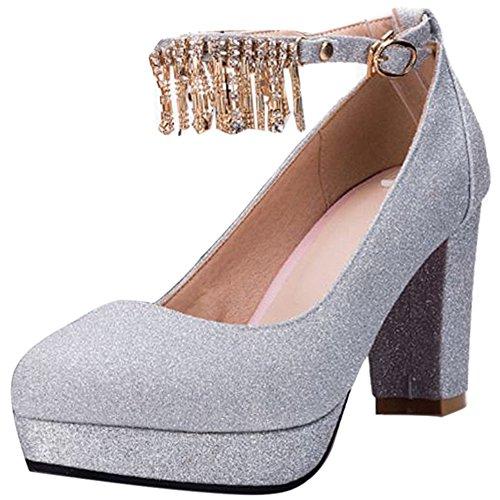 Sangle Briller Silver Chaussures Cheville de TAOFFEN Bout Sandales Chunky Rond Femmes 6qBCxU