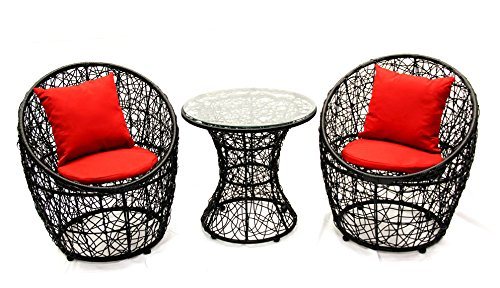 Met Life - 3-Piece Rattan Patio Bistro & Dinning Set, Seat Cushion Included(Seat + Back Support) | Color: Black, Cushion: Red (Cheap Bistro Set)