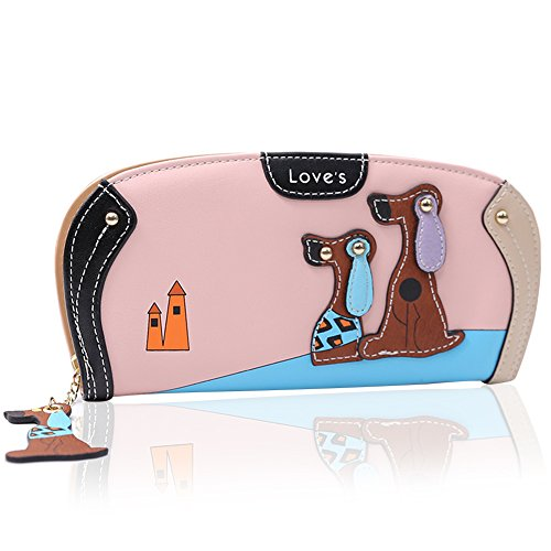 Women Fashion PU Leather Wallet Zip Around Purse Long Handbag (Pink) - 8