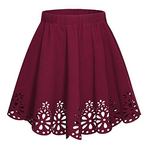 Urban CoCo Women's Basic Flared Scallope Hem Mini Skater Skirt (XL, Wine Red)