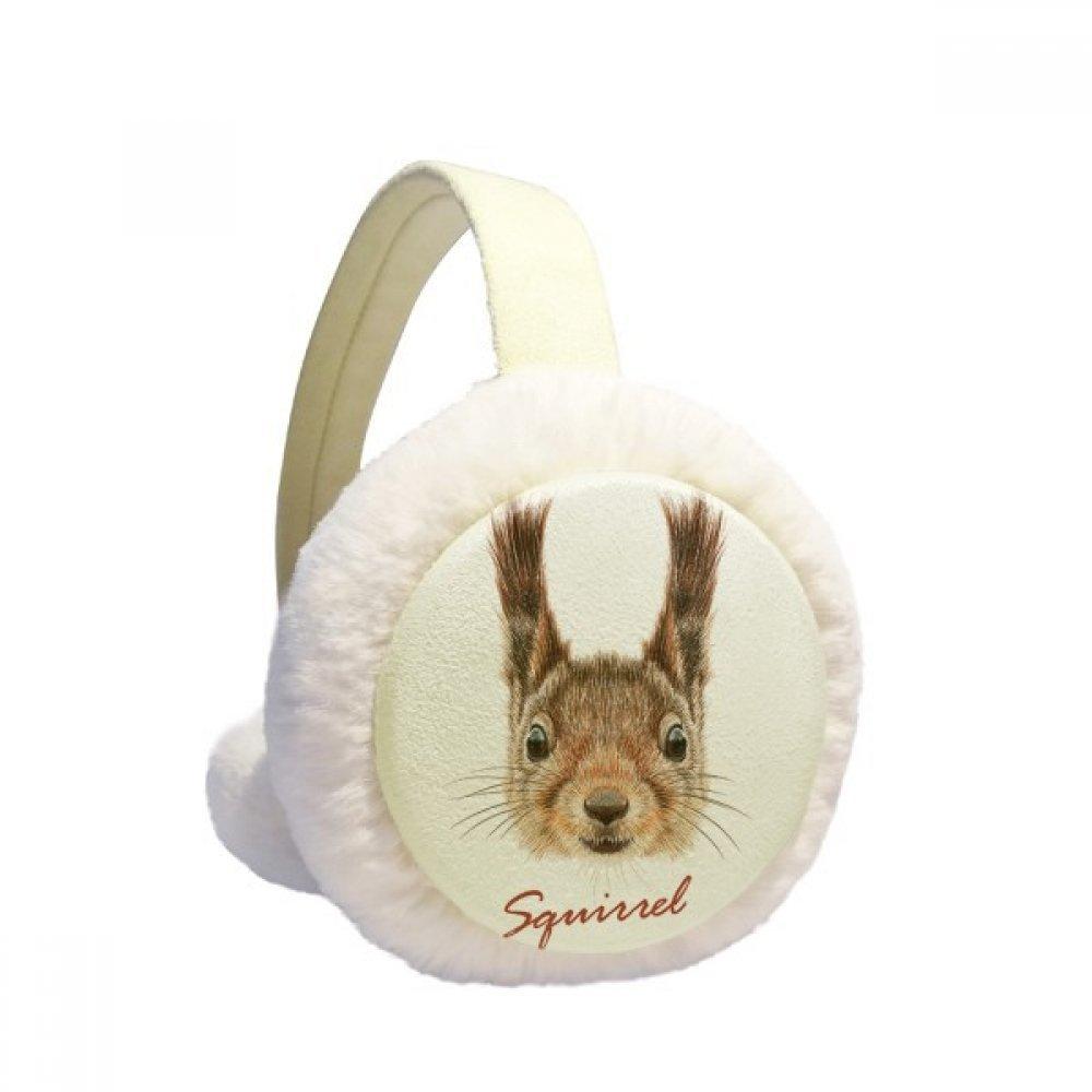 Little Brown Long Ears Squirrel Animal Winter Earmuffs Ear Warmers Faux Fur Foldable Plush Outdoor Gift