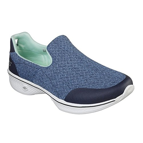 Femme Go Navy Aqua Walk 4 Baskets Enfiler Skechers wfcnqXd7q