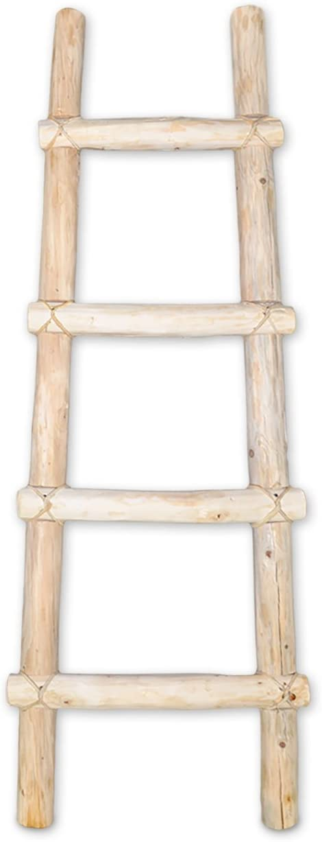 Authentic Decorative Southwestern Rustic Wooden 4-Foot Kiva Log Ladder with Rawhide Leather Bindings