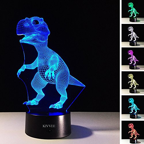 3D Lamp Dinosaur Baby Shape Boys Best Bithday Gift Acrylic Table Night Light Furniture Decorative Colorful 7 Color Change Household Desk Accessories  Purple