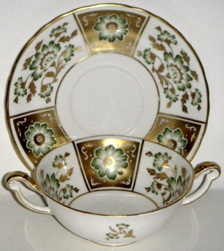 Royal Crown Derby Derby Panel Green Cream Soup & Saucer