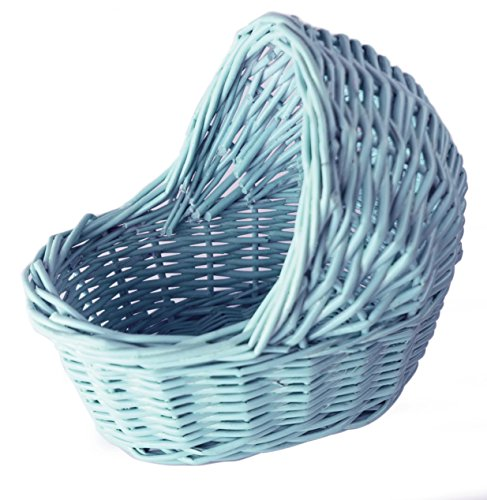 Willow Cradle Baby Shower Boy Basket in Blue - 7.5
