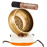 Tibetan Singing Bowl Set By TANTRA SOUNDS - Third Eye Chakra Healing & Meditation Yoga Prayer Bowl with Mallet, Cushion & Bag, Dharmachakra Buddha 4.5