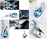Rigant White Gold Plated Swarovski Crystal Elements Eternal Love Teardrop Pendant Necklace Fashion Jewelry for Women