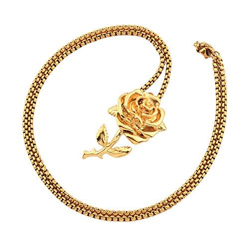 3fabc2ed35d3 mcsays Hip Hop joyería hermosa flor de Rose Colgante 70 cm redondo caja  cadena acero inoxidable